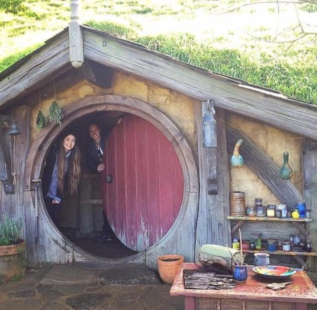Brittany in Bilbo's Hobbit Hole in Hobbiton