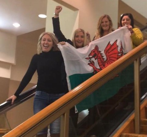 Rachel, Nicola, Alannah, and Jessica representing Wales